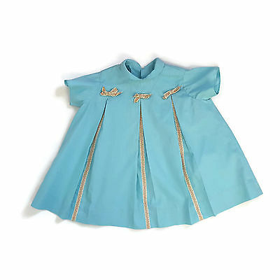 Vintage BlueToddler Dress Pleated Ribbon Trim 60s Handmade 12 - 18 Months