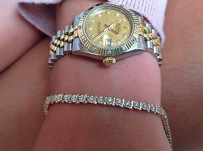SUPER DIAMONDS YELLOW & WHITE GOLD 9ct GOLD TENNIS LINE BRACELET EXCELCOND