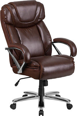 500Lb.Capacity Big & Tall Brown Leather Executive Office Chair w/Extra Wide Seat