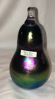 Gibson Glass Iridescent Swirl Pear Ring Holder Paperweight Signed Sticker