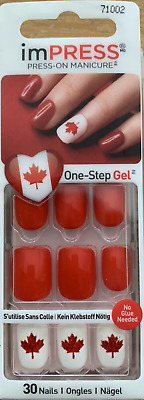imPRESS 30 press on false nails in red & white & alternative feature nails 71002