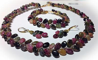 Tourmaline Gemstone Jewelry Set Necklace Bracelet Earrings plated gold or silver