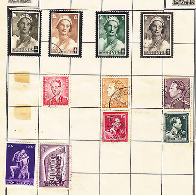 BELGUIM Stamp  Collection on old album page Small Lot