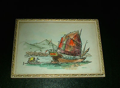 Vintage - Framed - Water Colour - Marine Painting Chinese Boats