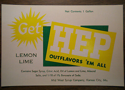 GET HEP Lemon Lime Paper Labels (4) from 1960's - Fountain Syrup