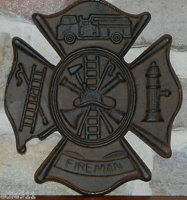 FIREMAN SIGN~FREE S/H~ Wall Plaque ~ NEW CAST IRON ~ Fire Fighter Gift !