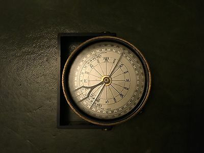 antique brass clinometer handle compass by lawrence & mayo London circa 1900