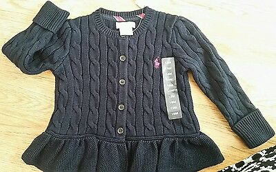 Ralph Lauren Baby GIRLS Cable Knit Navy Cardigan  ~BNWT ~ 18 months