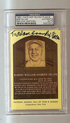 1964 Yellow Plaque Postcard Double Signed Bob Feller Auto PSA/DNA Certified