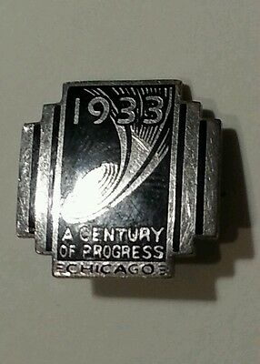 Vintage 1933 Chicago World's Fair Lapel Pin Art Deco Silver and Black