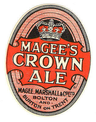 Magee & Marshall  bottle label.  Magee's Crown Ale . Bolton & Burton on Trent