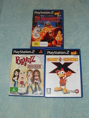 3 PlayStation 2 games: The Incredibles: Rise of the Underminer-BRATZ etc