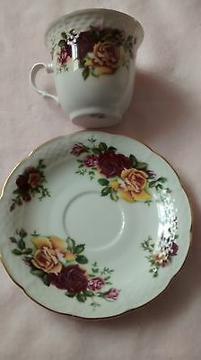 Cup And Saucer Rose  Flower Floral Design China Coffee Tea