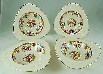 4 Triangular Solian Ware Bowls - Soho Pottery Ltd., Cobridge