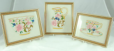 3 Framed Embroideries of Cup & Saucer, Bowl and Jug
