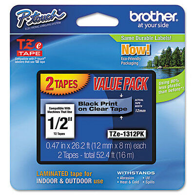 """Brother TZe-131-2PK 1/2"""" Black on Clear P-touch Tape 12mm Twin Pack, TZe1312PK"""