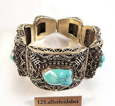 altes China Howolith wie Türkis Armband Silber old silver bracelet / AS 281