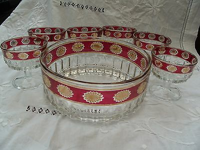 Vintage Cranberry, Gold and Clear Glass Fruit Set, probably Italian