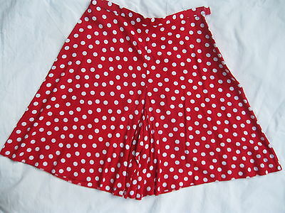 Ladies Vintage Red Polka Dot Shorts / Culottes Summer Festival 50s 80s Size 14