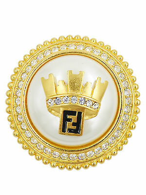 Fendi Gold Round with Large Pearl Crown and Crystal Detail Brooch
