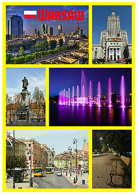 Warsaw, Poland - Souvenir Novelty Fridge Magnet - Sights / Flags - New - Gifts