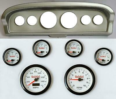 61-66 Ford Truck Silver Dash Carrier Concorse White Face Gauges