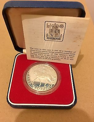 1977 Queens Silver Jubilee Royal Mint Silver Proof Crown Coin With Certificate