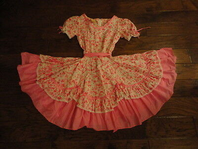 """Square Dance Dress, 21"""" Length, Pink/White/Green                   -sacurrie1"""