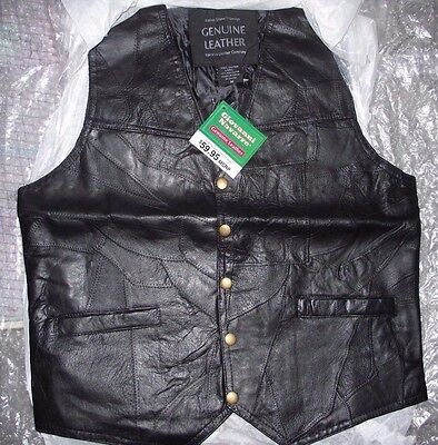 Genuine Leather Vest Men's Motorcycle Biker Style Concealed Pocket Size Small