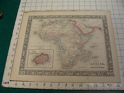 ORIGINAL Hand Colored 1860 Mitchell Map: 15 1/4 x 12 1/2 AFRICA St. Helena