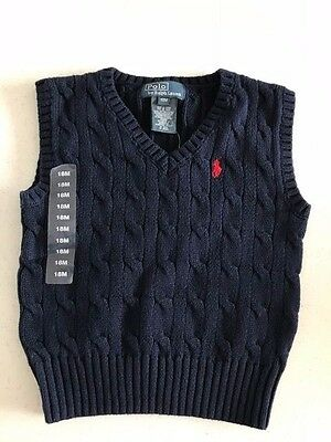 POLO RALPH LAUREN NWT Infant Boys Top Sweater Best Navy Red Logo Cable Knit 18m