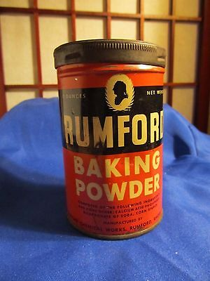 Rumford Baking Powder Tin Can Red Black 4 Oz General Twist Lid Country Store