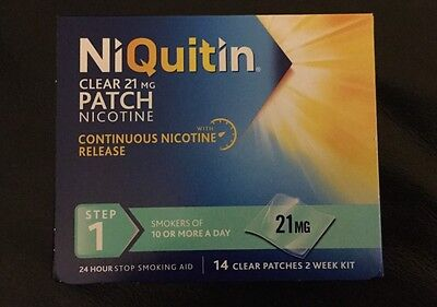 NiQuitin Clear Patch Nicotine 21mg Step 1. 14 Clear Patches Two Weeks Worth