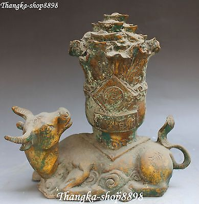 """10"""" Old China Bronze Gilt Wealth Money Ox Oxen Cow Cattle Animal Cabbage Statue"""