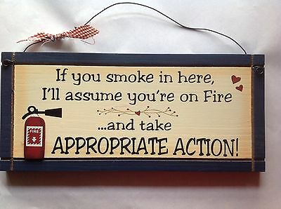 "Rustic Wooden Wall Plaque Home Hanging Sign ""No Smoking"" Brand New"