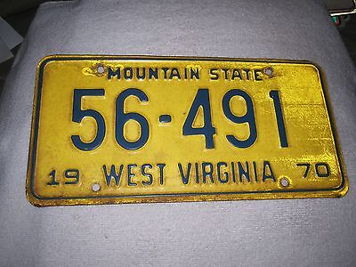 Vintage 1970  Mountain State West Virginia License Plate 56-491