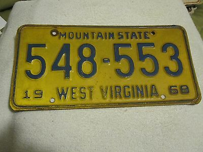 Vintage 1968 Mountain State West Virginia License Plate 548-553