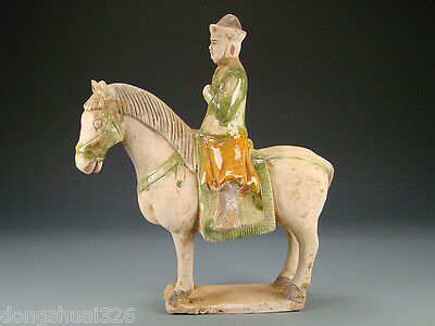 Ancient Chinese Rare Collectable Ming Dy SanCai Pottery ANTIQUES Horse And Rider