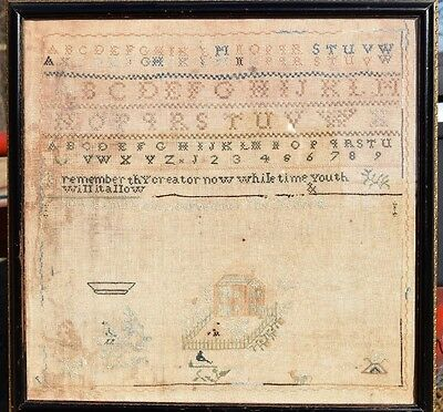 Antique Early 1800's Sampler by Unice Smith Sept. 7 1807