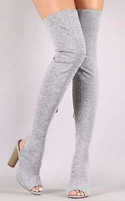 d2f28188cec90 Thigh High Over Knee Stretchy Boot Open Peep Toe Block Heel Pull On Grey