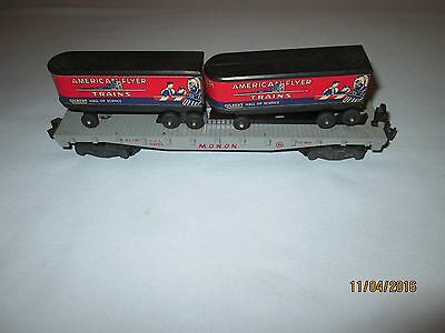 American Flyer #24550 Monon Flat Car- 2 Piggy Back Vans-Trailers- Excellent