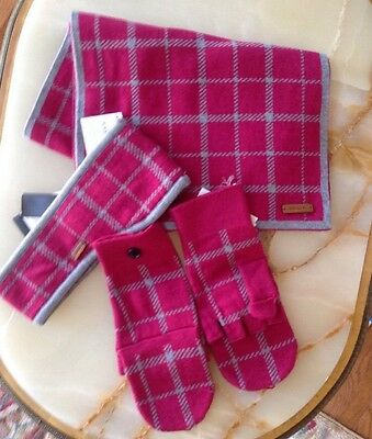 Nwt Authentic Coach Tattersall Headband, Scarf & Stowaway Gloves 3 Pc Set -$214
