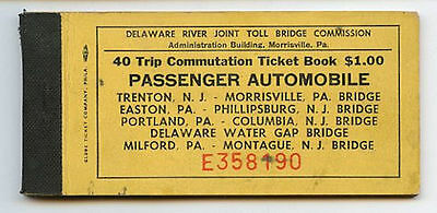 1966 Passenger Auto 40 Trip Commutation Ticket Book Delaware River Toll Bridge