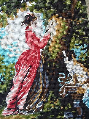 Vintage Tapestry Lady And Dog In Garden Completed Made In France Royal Paris