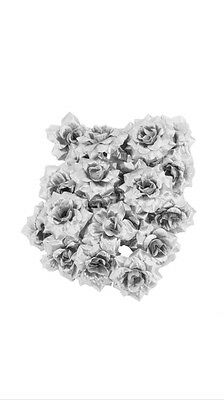 25x Small Silver Rose Heads Artificial Fake Flowers Wedding Craft Joblot Roses