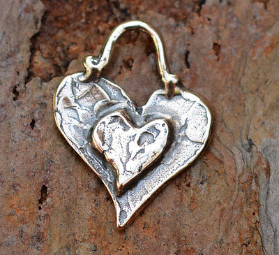 One Sterling Silver Layered Heart Charm 208s