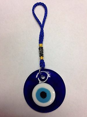Turkish Glass Evil Eye Hanging Amulet For Good Luck / Protection Approx. 2 1/2 D
