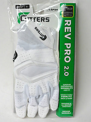 Cutters S451 Adult Rev Pro 2.0 Solid Receiver Gloves ADULT (Pair) White Large