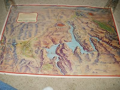 Large Union Pacific Railroad Map - Lake Mead Recreational Area  - 21 x 29 in