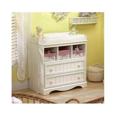 Changing Table Dresser Baby Diaper Station White Cottage Style Nursery Furniture